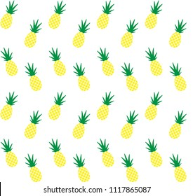 pineapple pine apple vector seamless pattern yellow isolated on white background