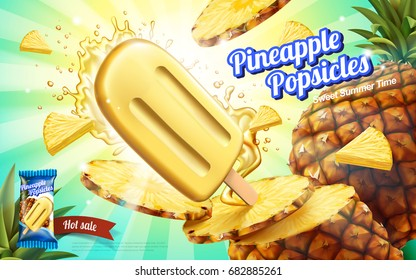 Pineapple popsicles ads, summer chill fruit ice pop with splashing juice and flesh isolated on striped background in 3d illustration