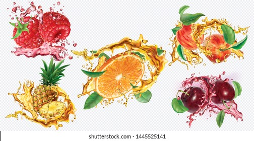 Pineapple, Raspberry, Orange, Plums and Peaches in splashes of juice on transparent background. Vector mesh and curves illustration