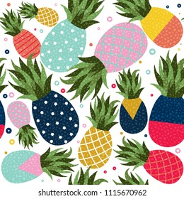 Pineapple seamless pattern illustration, colorful memphis retro style fruit background. Abstract geometric shape decoration for summer. EPS10 vector.