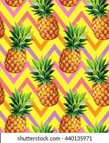 Pineapple seamless pattern on an abstract geometrical background. Vector illustration.