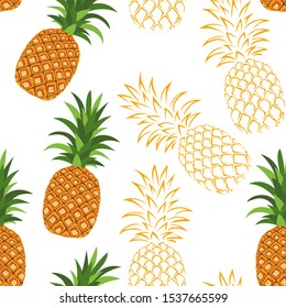 Pineapple seamless pattern on white background. Vector illustration in cartoon simple flat style.