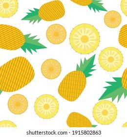 Pineapple seamless pattern, summer background, summer fruit ,vector illustration