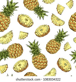 Pineapple seamless pattern. Tropical fruit sketch style. Hand drawn vector illustration.