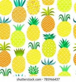 Pineapple seamless pattern. Yellow summer background