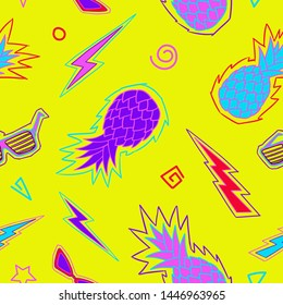 Pineapple seamless pattern. Zine Culture. Neon bright colored pattern. Vector illustration background. For print, textile, web, home decor, fashion, surface, graphic design
