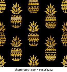 Pineapple seamless pattern.Scandinavian texture. Gold glitter.  Summer geometric creative pineapple background. Black  colors