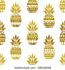 Pineapple seamless pattern.Scandinavian texture. Gold glitter.  Summer geometric creative pineapple background. Isolated