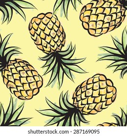 Pineapple seamless tropical pattern. Jungle textured background