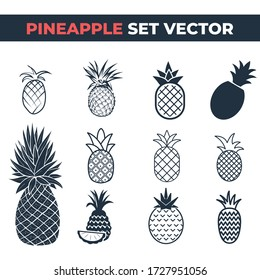 Pineapple set vector, Isolated on white.
