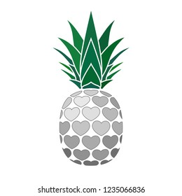 Pineapple sign with hearts for t-shirt. Tropical silver exotic fruit isolated white background. Love sign. Cute romantic typography graphic. Sweet summer design decoration Vector illustration