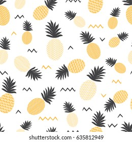 Pineapple simple vector seamless background. Textile fabric ananas in yellow and grey colors. Baby simple scandinavian white style apparel and linen pattern design.