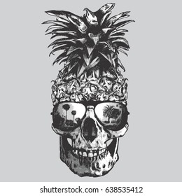Pineapple  skull illustration, tee shirt graphics, vectors