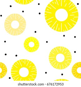 Pineapple sliced seamless pattern. Organic healthy fruit background.