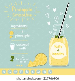 Pineapple smoothie recipe. With illustration of ingredients and vitamin. Doodle style