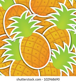 Pineapple sticker background/card in vector format.