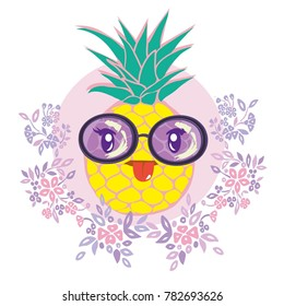 Pineapple with sunglases and headphones. Summer consept. Vector illustration.