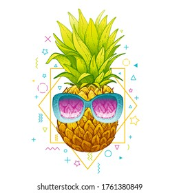 Pineapple in sunglasses. Vector Memphis summer art. Tropical illustration on geometric 80th background. Hipster ananas fruit in cool funny glasses. Music cover, t shirt print, luau party invite design
