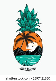 Pineapple Sunrise Aloha tropical island, Hawaii beach sunset vector illustration. For t-shirt prints, posters and other uses.
