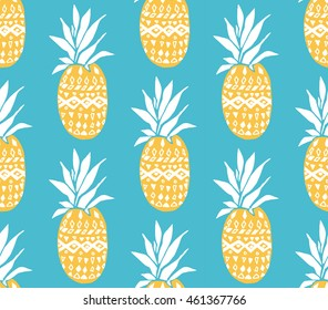 Pineapple texture with hand drawn yellow fruits at blue background. Seamless vector pattern