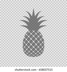 Pineapple trendy tropical pattern. Vector graphic exotic ananas fruit icon. Black summer pineapple logo isolated on transparent background.