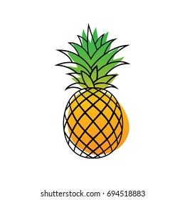 Pineapple Tropical Fruit. Health symbol. Vector Illustration. White Background.