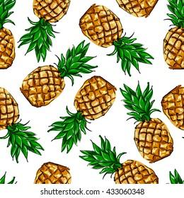 pineapple tropical vector illustration textile print fashion seamless