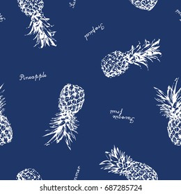pineapple vector background. Cute summer pattern. Seamless textile illustration.