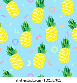 Pineapple vector background and geometric pattern. Summer colorful tropical textile print.