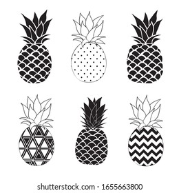 Pineapple vector black silhouette and sketch. Vector illustration.
