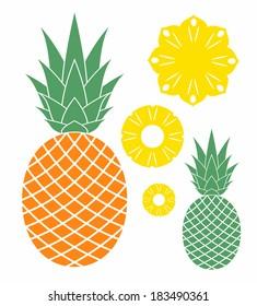Pineapple. Vector illustration EPS10. Isolated fruit on white background