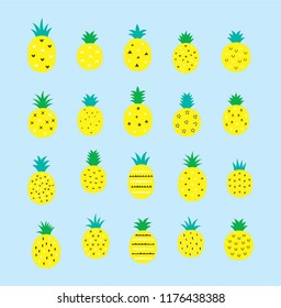 pineapple vector illustration. fresh pineapple isolated. pineapple graphic cartoon.