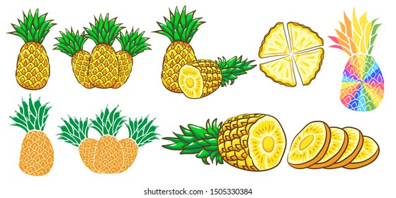 pineapple vector set graphic clipart