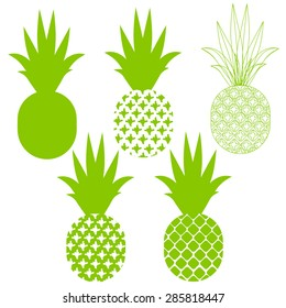 Pineapple vector silhouettes in green different variants