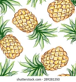 Pineapple watercolor seamless pattern. Juicy fruits exotic tropical plant background