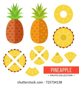 Pineapple. Whole pineapple, ananas and parts, leaves, slices, core. Set of fruits. Flat design graphic elements. Vector illustration isolated on white background