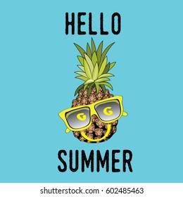Pineapple with yellow sunglasses smiling. Hello Summer. Vector illustration on blue background