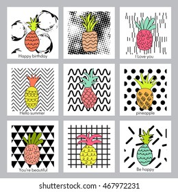 pineapple,fruit.Set of creative trendy art posters with pineapples. Hand drawn textures. Vector.