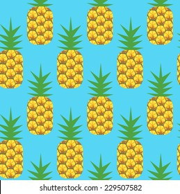 Pineapples against blue - seamless repeating pattern