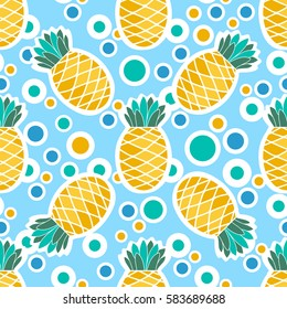Pineapples and circles on color background. Seamless pattern for your business and design. For wallpapers, linen, print and jalousie
