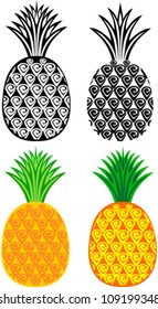 pineapples collection isolated on White background. Vector illustration