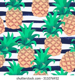 Pineapples with grunge curved striped vest seamless pattern. Tropical retro vector background