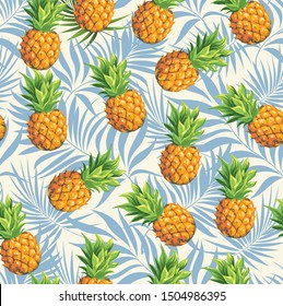 Pineapples on a background of branches of a green tropical palm tree. Vector seamless background pattern on the theme of botany and tropical plants