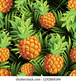 Pineapples on the background of palm branches. Vector pattern with tropical fruits and plants.