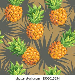 Pineapples on the background of palm leaves of branches. Vector seamless background pattern on the theme of botany and tropical plants.