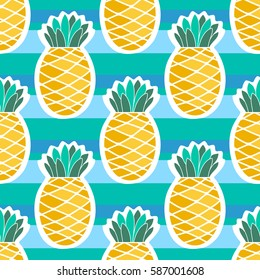 Pineapples on color background. Seamless pattern for your business and design. For wallpapers, linen, print and jalousie