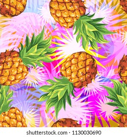 Pineapples with palm leaves. Tropical vector pattern, background.