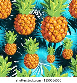 Pineapples with palm leaves.Vector pattern. Nature.