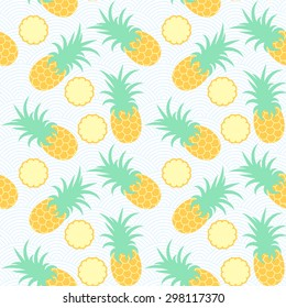 Pineapples Seamless Geometric Pattern Exotic Fruits In Water Summer Background Sea Waves