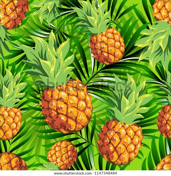 Pineapples. Seamless pattern from tropical fruit and palm leaves. Vector image.
